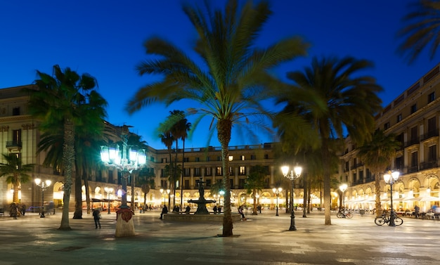 Evening view of placa reial in  barcelona