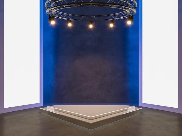Фон выставочного зала событий с пустым современным пространством и фоном вида спереди 3d-рендеринга