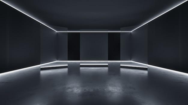 Фон выставочного зала событий с пустым современным пространством и фоном вид спереди 3d-рендеринга