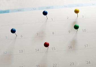 Events calendar. Mark the event day with a pin.