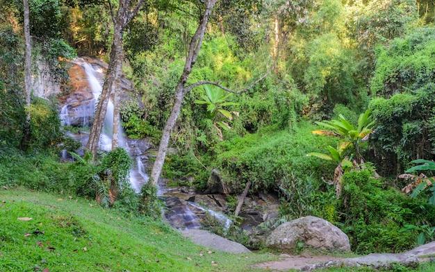 Вечнозеленый лесной водопад на горе дойсутхеп в чиангмае, таиланд