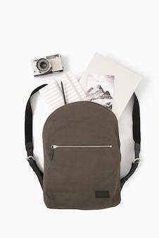 Everyday essentials in travel bag