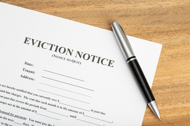 Eviction notice document on table