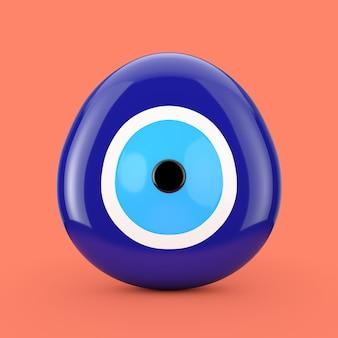 분홍색 배경에 사악한 눈 구슬 보호 부적. 3d 렌더링