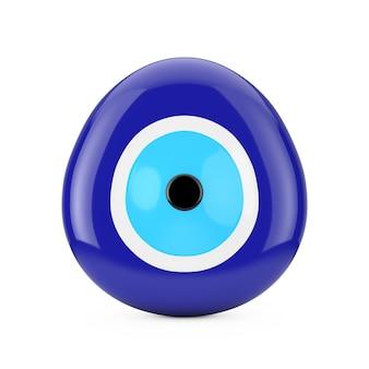 흰색 바탕에 사악한 눈 구슬 보호 부적입니다. 3d 렌더링