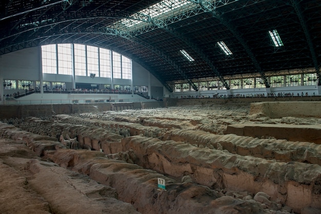 Сайт раскопок в музее армии аркадских воинов, сиань, китай