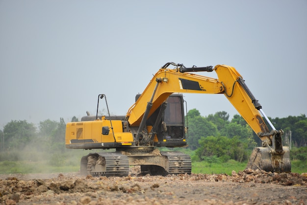 Excavation work at the construction site