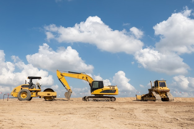 A excavator at construction site for industry concept