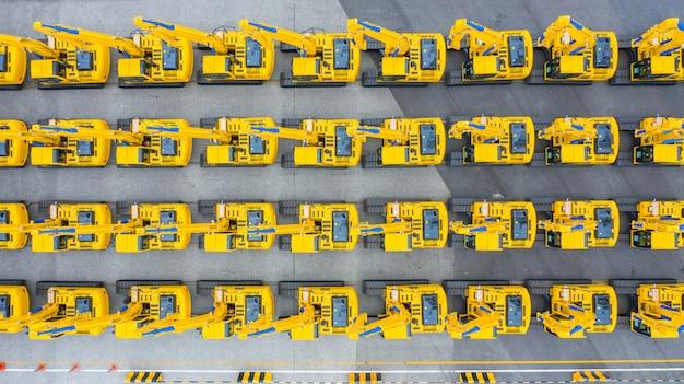 Excavator construction vehicle, aerial view group of excavator.