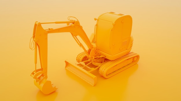 Excavator isolated on yellow 3d illustration.