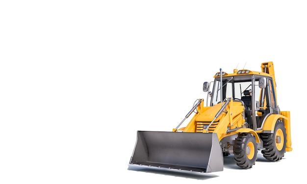 白い壁の3dレンダリングの掘削機スクレーパー。