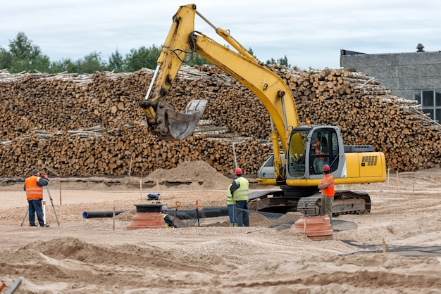 Excavator working in the construction field