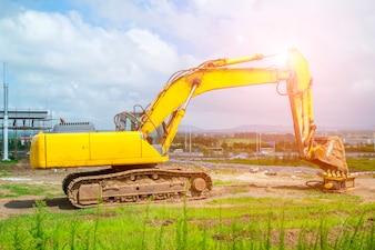 Excavators symbol road construction work tools road signs brick