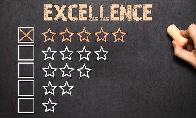 The excellence five golden stars on chalkboard