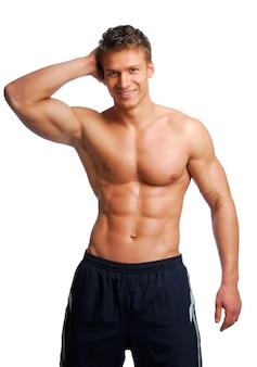 エクセレンス男性トレーニング体。白で隔離されます。