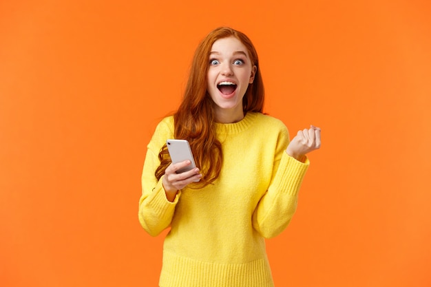 Excited and cheerful redhead pretty female student got enrolled in exchange program