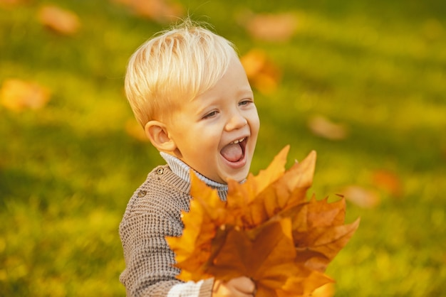 Excited child playing with leaves in autumn park. smiling blonde kid hold autumn leafs in the nature. smile happy kids face. happy childhood concept.