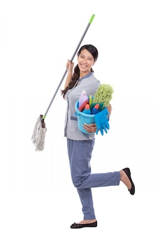 Excited cleaning maid woman smiling