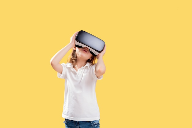 Excited girl being in virtual reality