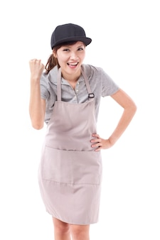 Excited, happy, smiling woman worker