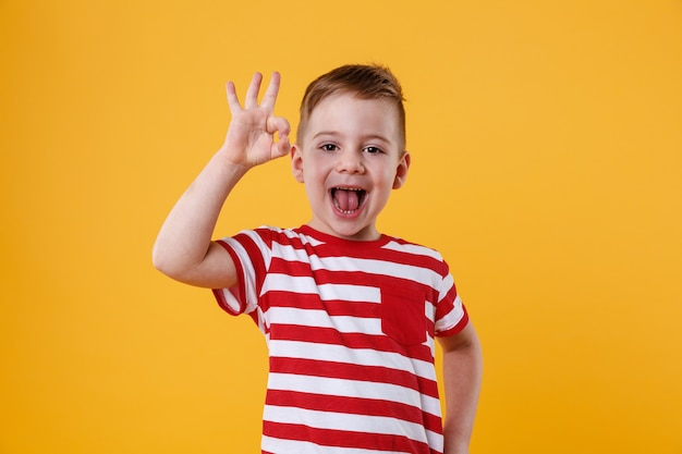 Excited little boy standing and showing okay gesture