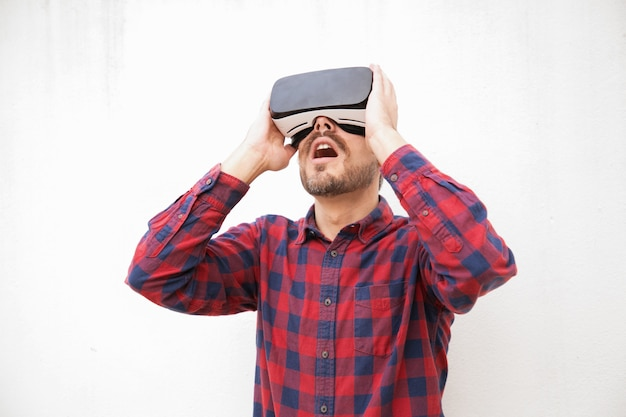 Excited man in vr headset