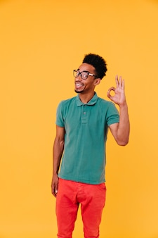 괜찮아 기호로 포즈를 취하는 재미있는 헤어 스타일으로 흥분된 남자. 안경 및 녹색 티셔츠에 감정적 인 아프리카 남자의 실내 샷.