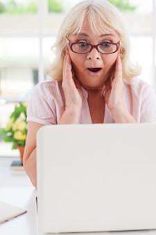 흥분된 수석 여자입니다. 노트북을 보면서 머리를 손에 들고 긍정적인 표현을 하는 놀란 수석 여성
