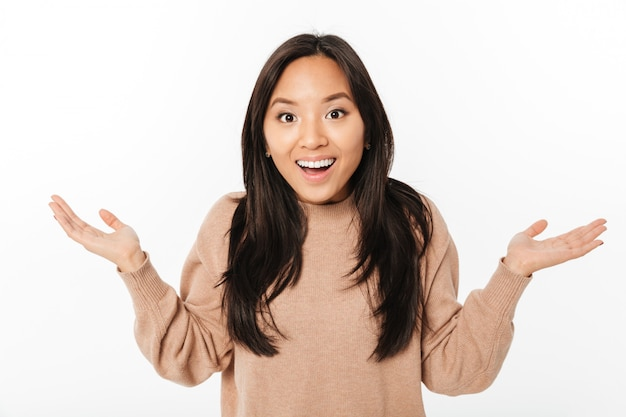 Excited shocked lady standing isolated