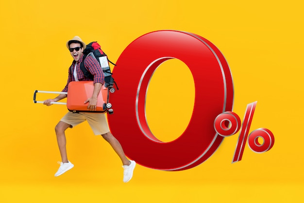 Excited tourist  travel with 0% interest instalment payment plan