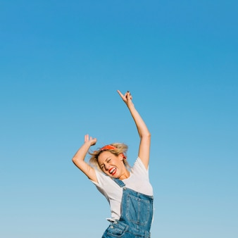 Excited woman jumping