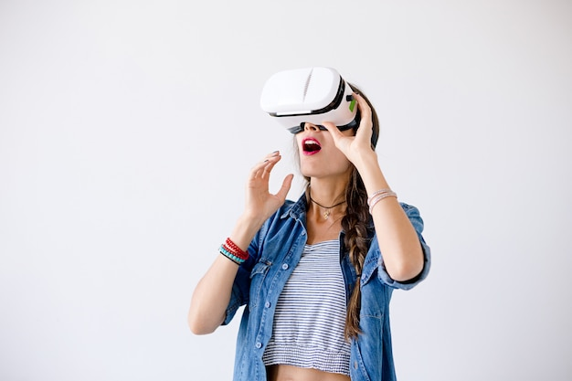 Excited woman with vr glasses
