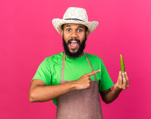 Возбужденный молодой афро-американский парень садовник в садовой шляпе держит и указывает на перец, изолированный на розовой стене