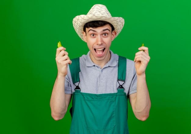 원예 모자를 쓰고 흥분된 젊은 남성 정원사는 복사 공간이 녹색 배경에 고립 깨진 고추를 보유하고