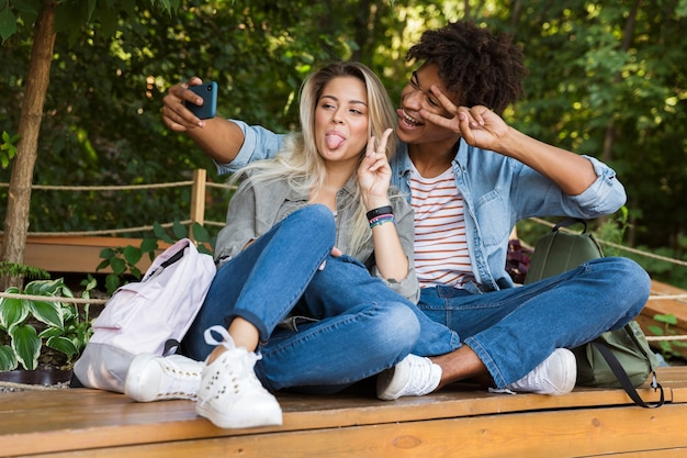 Excited young multiethninc couple