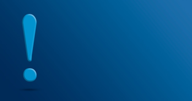 Exclamation mark on blue background 3d