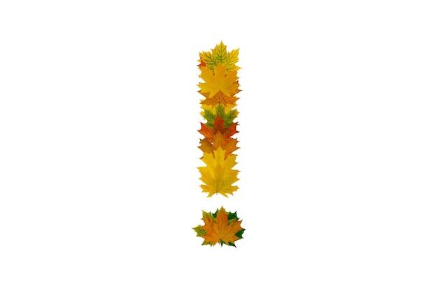 Восклицательный знак из осенних кленовых листьев, изолированные на белом фоне. алфавит из зеленых, желтых и оранжевых листьев.