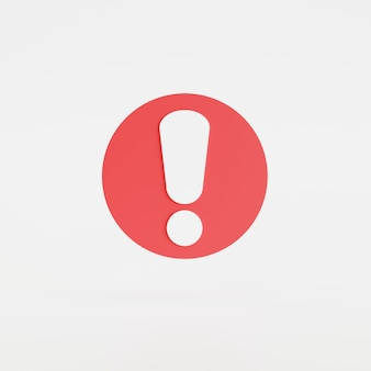Значок восклицательного знака изолировал белый фон, кнопку, значок мобильного приложения. 3d визуализация иллюстрации