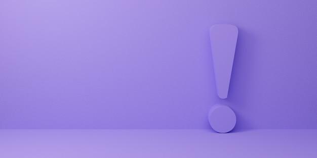 Восклицательный знак на пастельных фиолетовых абстрактных фоне. 3d визуализация дизайн.