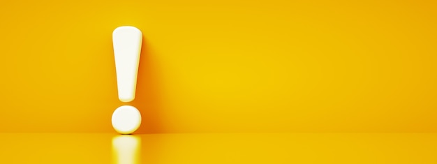 Восклицательный знак на желтом фоне, 3d-рендеринг, панорамный макет Premium Фотографии