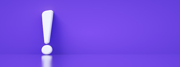 Exclamation mark over purple background, 3d rendering, panoramic layout