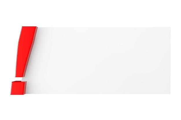 Восклицательный знак с чистым листом бумаги на белом фоне