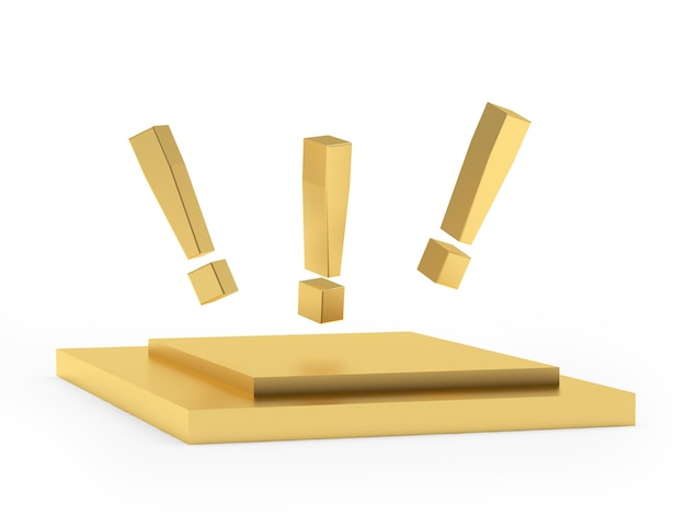 Exclamation marks on a gold stand