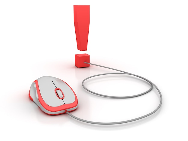 Exclamation symbol and computer mouse