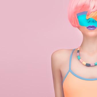 独占写真ガールファッションミックスカラー