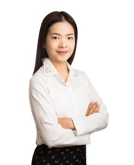 白い背景に若いアジアのexcutiveビジネスの女性