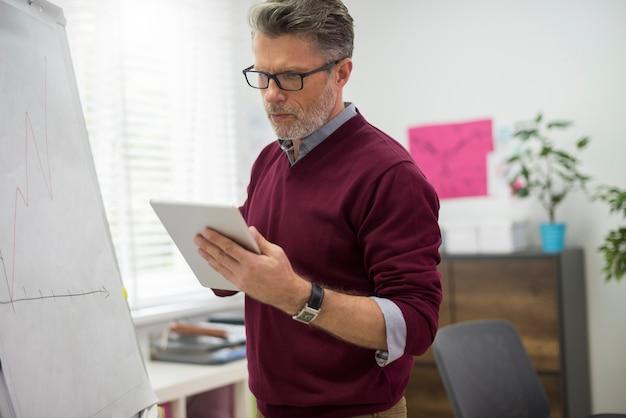 Руководитель ищет информацию о цифровом планшете