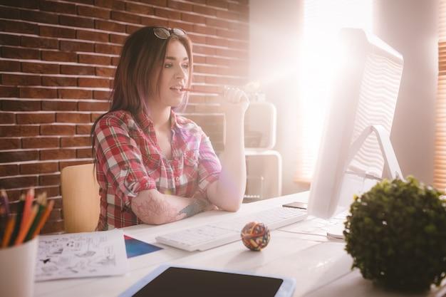 Executive looking at personal computer