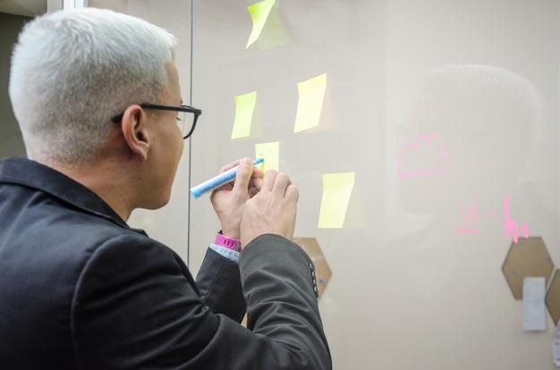 アイデアを整理するオフィスのエグゼクティブマン