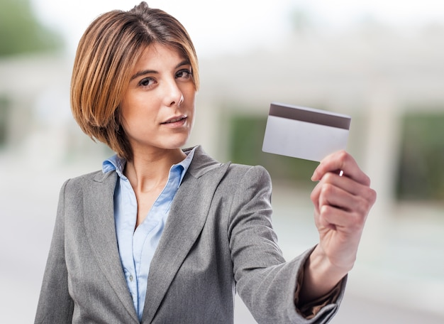 Executive showing the credit card